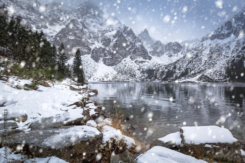 Snowy winter at Eye of the Sea lake in Tatra mountains, Poland