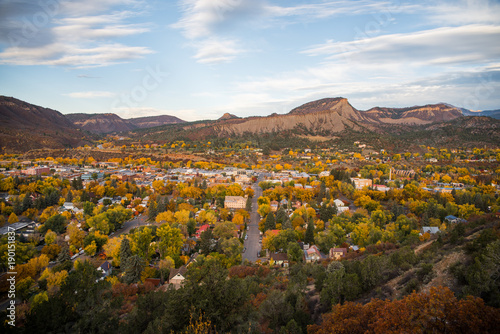Tuinposter Blauwe hemel Landscape view of Durango, Colorado during autumn.