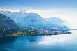 Alpine mountains and Como lake landscape, Italy