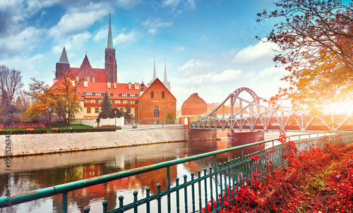 Fototapety, obrazy : Wroclaw Poland view at Tumski island and Cathedral of St John