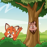 Cat and squirrel at forest icon vector illustration graphic design
