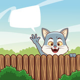 Cat behind fence with blank speech bubble