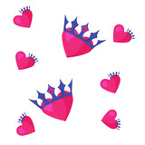 Vector seamless pattern of a Heart and a Crown. Great as metaphor of known saying: You are a King or a Queen of my Heart. Good for Valentine's Day, kids clothing prints, prince and princess party.