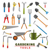 Vector isolated icons of farm gardening tools - 190164236