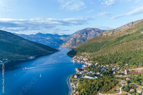 Fotobehang Khaki Aerial view on Lepetane Ferry. Montenegro.