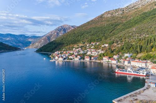 Keuken foto achterwand Nachtblauw Aerial view on Lepetane Ferry. Montenegro.