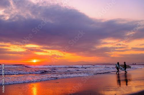 Foto op Canvas Zee zonsondergang 湘南 鵠沼海岸のサンセット