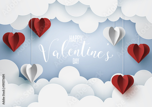 Paper art of love and valentine's day with origami heart.Vector illustration Eps10.
