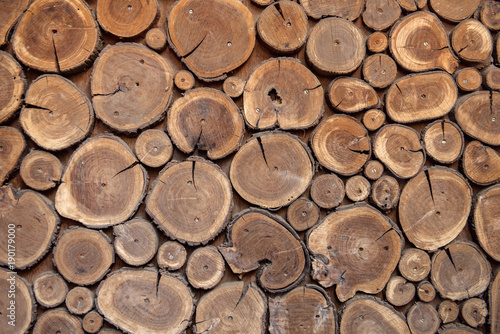 Foto op Plexiglas Brandhout textuur Sawed wood background. Decor of wall
