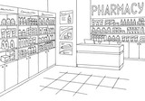 Pharmacy interior graphic store shop black white sketch illustration vector - 190184240