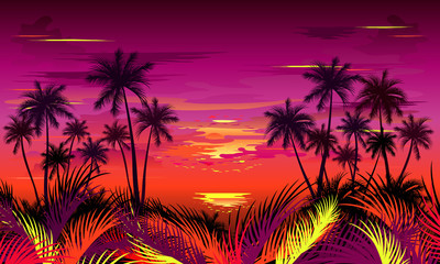 Sunset on tropical beach with palm trees and jungle foliage. Hand drawn vector illustration.