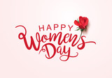 March 8, International Women's Day lettering design with rose - 190197823