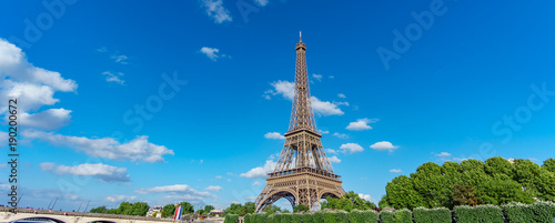 The Eiffel Tower panorama over trees, blue sky - 190200672