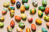 Bunch of colorful decorated eggs on the floor - 190205684