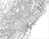 Black and white vector city map of Barcelona with well organized separated layers. - 190206018