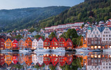 Bergen street at night with boats in Norway,  - 190207044