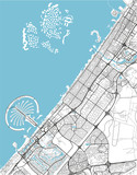 Black and white vector city map of Dubai with well organized separated layers. - 190207657