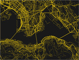 Black and yellow vector city map of Hong Kong with well organized separated layers. - 190209078