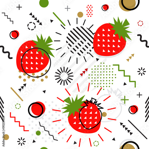 Trendy seamless, Memphis style strawberry geometric pattern, vector - 190209607