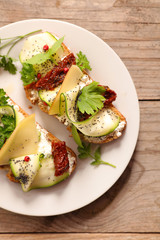 healthy sandwich with cheese,zucchini and herbs