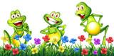 Three happy frogs in flower garden - 190213485