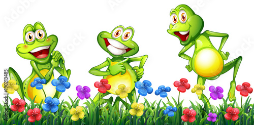 three-happy-frogs-in-flower-garden
