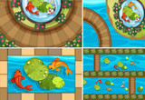 Four scenes with fish in the ponds - 190213697