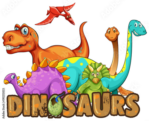 Fotobehang Kids Sticker template with many types of dinosaurs