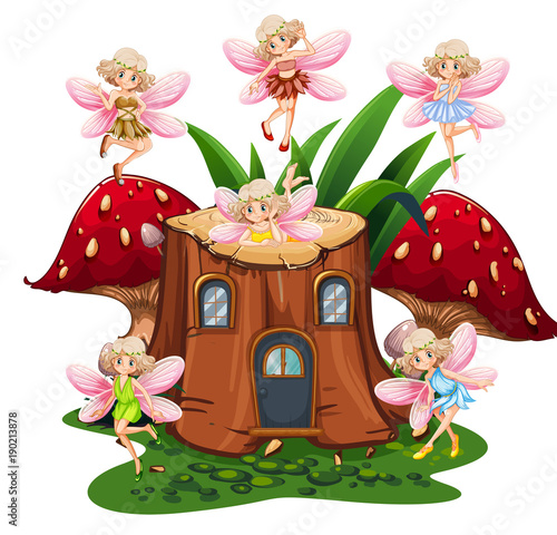 Fotobehang Kids Six fairies flying around log home in garden