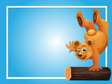Blue background template with bear on log - 190214002