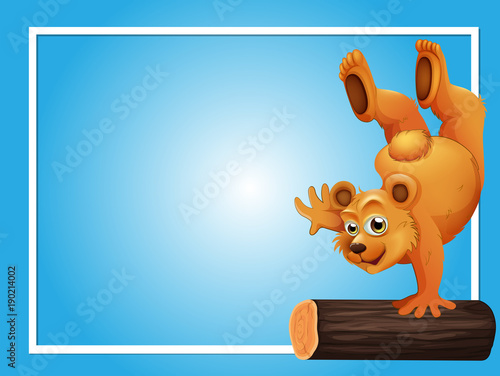 Blue background template with bear on log