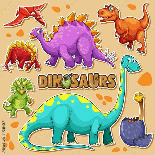 Keuken foto achterwand Kids Different types of dinosaurs on poster