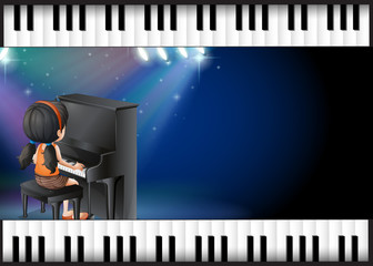 Background design with girl playing piano