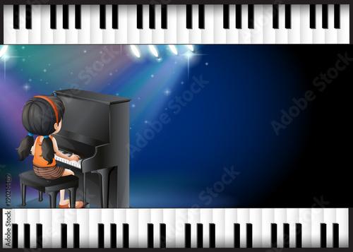 Keuken foto achterwand Kids Background design with girl playing piano