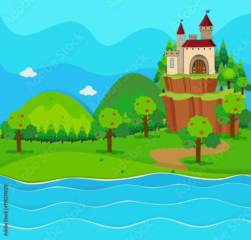 Foto op Plexiglas Turkoois Castle towers by the river