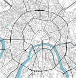 Black and white vector city map of Moscow with well organized separated layers. - 190217661