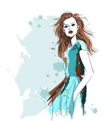 watercolor fashion model