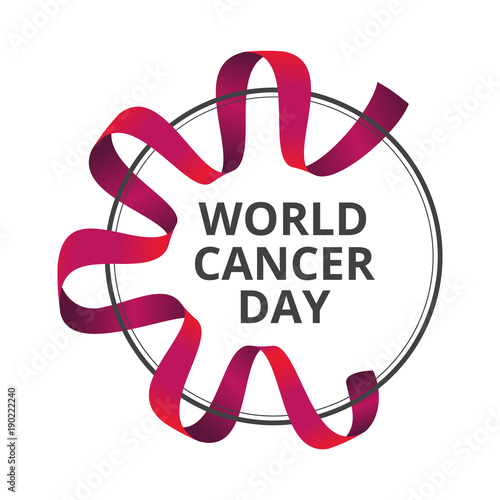 857976ccf99 Vector illustration to 4 February - World Cancer Day with awareness red  ribbon isolated on white