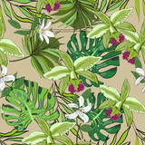 Tropical hand drawn exotic seamless pattern with leaves and flowers. Package design.