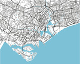 Black and white vector city map of Singapore with well organized separated layers. - 190225846