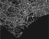 Black and white vector city map of Singapore with well organized separated layers. - 190226042