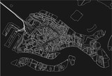 Black and white vector city map of Venice with well organized separated layers. - 190226604