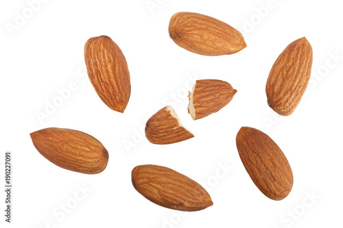 Poster almonds isolated on white background without a shadow close up