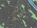 Vienna vector map with dark colors. - 190228863