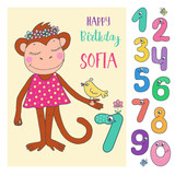 Cute monkey with cute and funny colorful number characters - 190229854