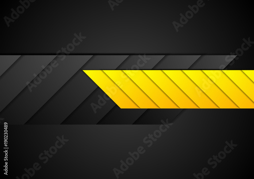 Orange and black contrast abstract technology background