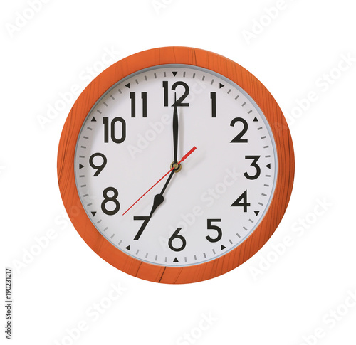 Poster clock of pattern brown wood in seven o'clock isolated on white background