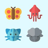 Icons set about Animals with cat, sheep, squid and butterfly