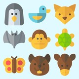 Icons set about Animals with butterfly, penguin, squirrel, fox, bat and duck