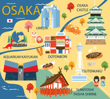 Osaka map with colorful landmarks Japan illustration design - 190234651